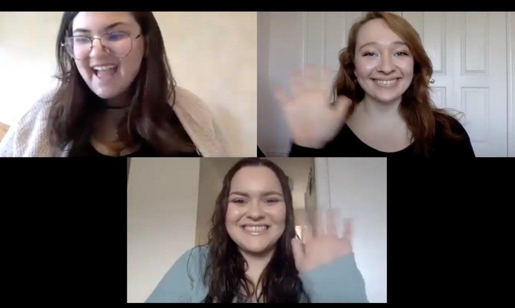 three people on a video call