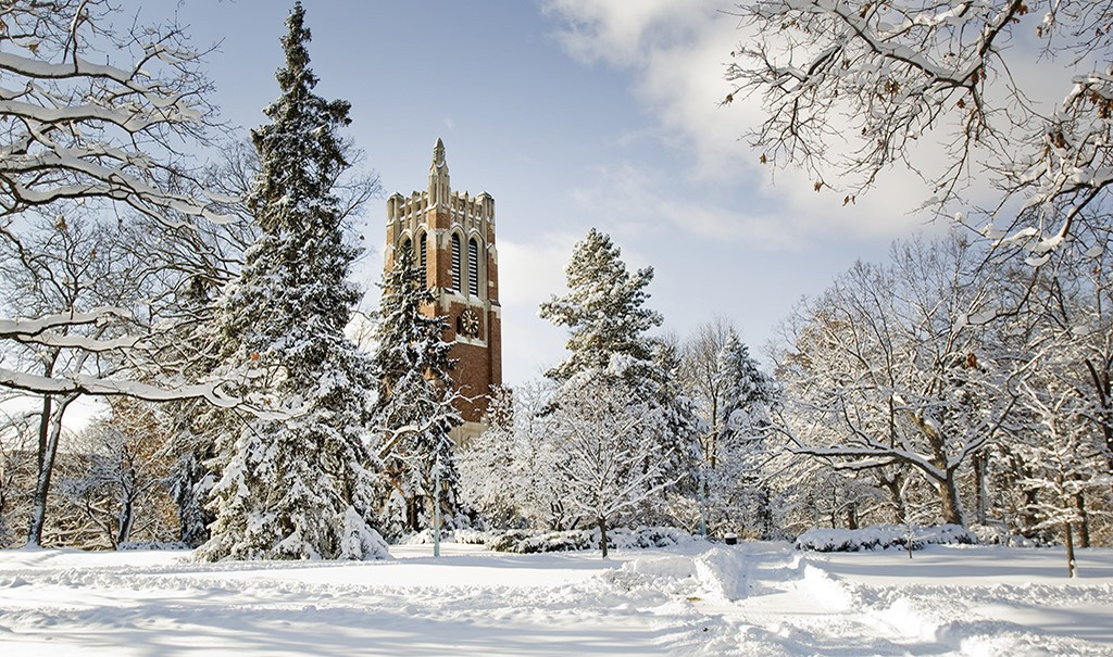 Photo of Beaumont tower surrounded by snow