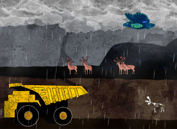 digital rainy scene with deer and bird and construction vehicle