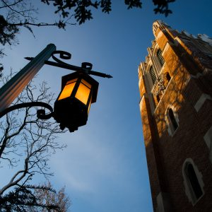 a lamppost and beaumont tower