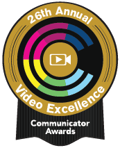 logo for 26th annual video excellence's communicator awards badge