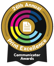 logo for 26th annual print excellence's communicator awards badge