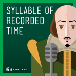 cartoon image of Shakespeare speaking into a microphone