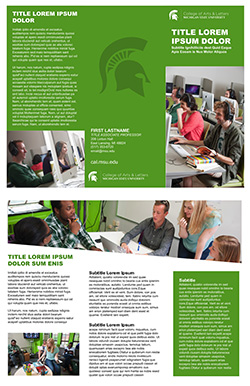 Graphic showing a mockup of the second trifold brochure template in official MSU branding