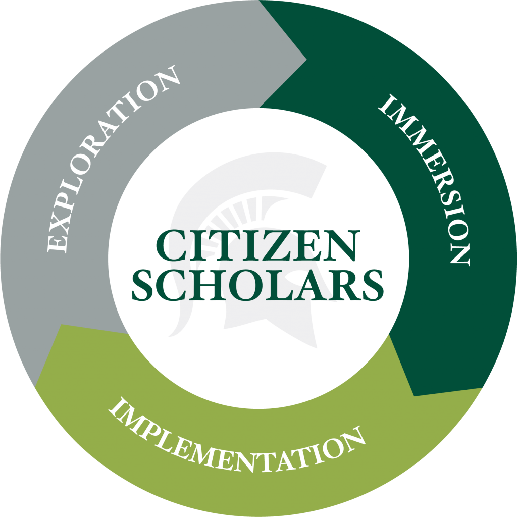 icon of two green arrows and one grey with words on it circled around the words citizen scholars