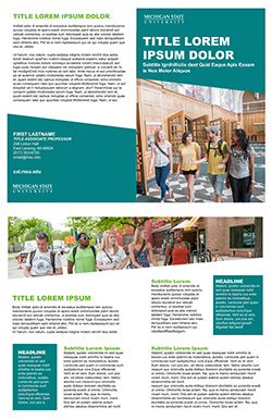 Graphic showing a mockup of the second bifold brochure template in official MSU branding