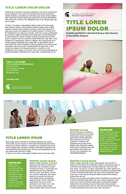 Graphic showing a mockup of the third bifold brochure template in official MSU branding