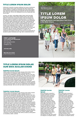 Graphic showing a mockup of the fourth bifold brochure template in official MSU branding