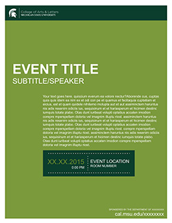 Graphic showing a mockup of the first event flyer in official MSU branding