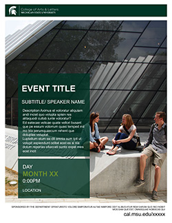 Graphic showing a mockup of the first flyer in official MSU branding