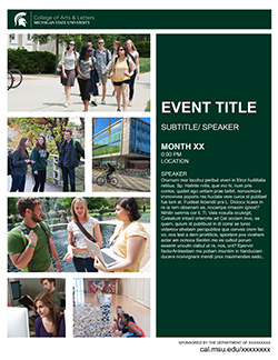 Graphic showing a mockup of the third flyer in official MSU branding