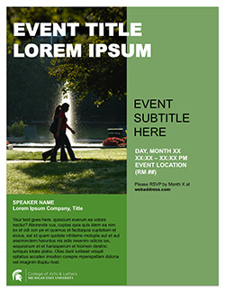 Graphic showing a mockup of the first poster template in official MSU branding
