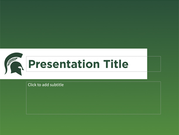 Graphic showing a mockup of the fifth presentation template in official MSU branding