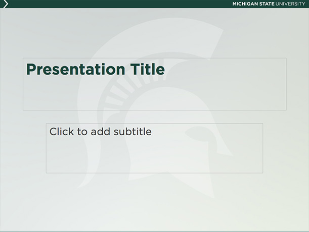 Graphic showing a mockup of the sixth presentation template in official MSU branding