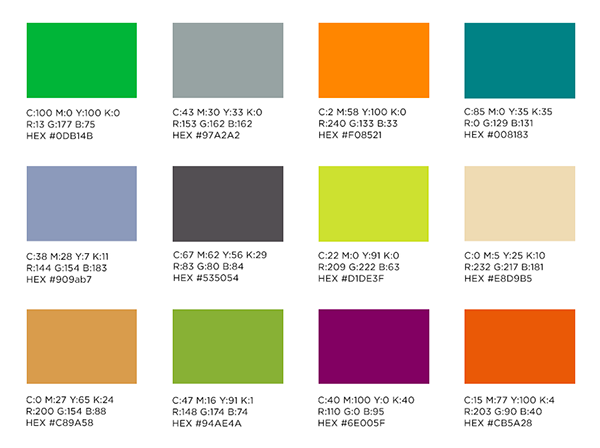 image that shows the many colors that fall into MSU branding and their hex codes