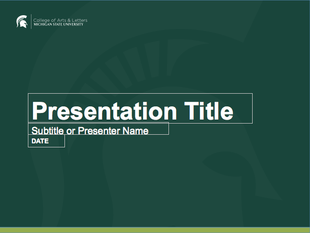 Graphic showing a mockup of the first presentation template in official MSU branding