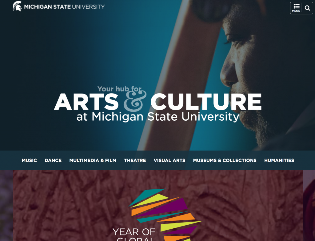 Screenshot of the MSU Arts & Culture webpage