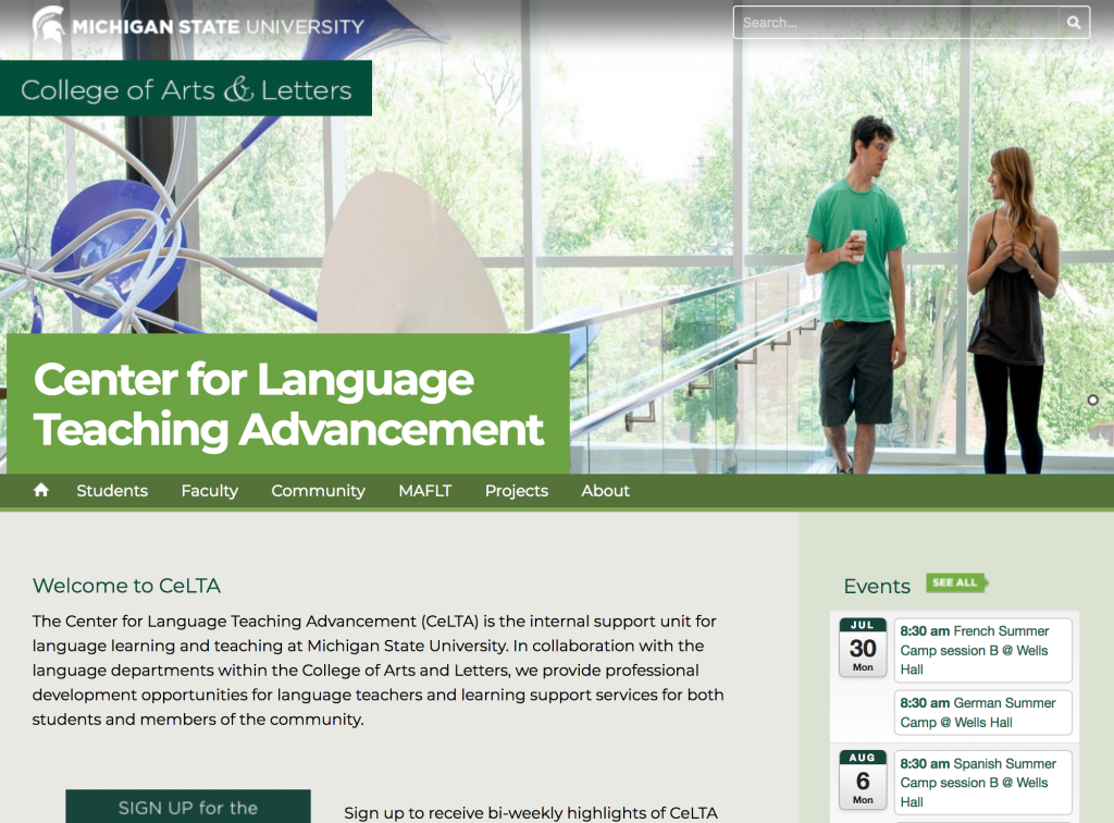 Screenshot of the CeLTA webpage from the College of Arts & Letters