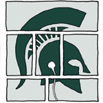 logo with spartan helmet spread out over comic panels listening to headphone
