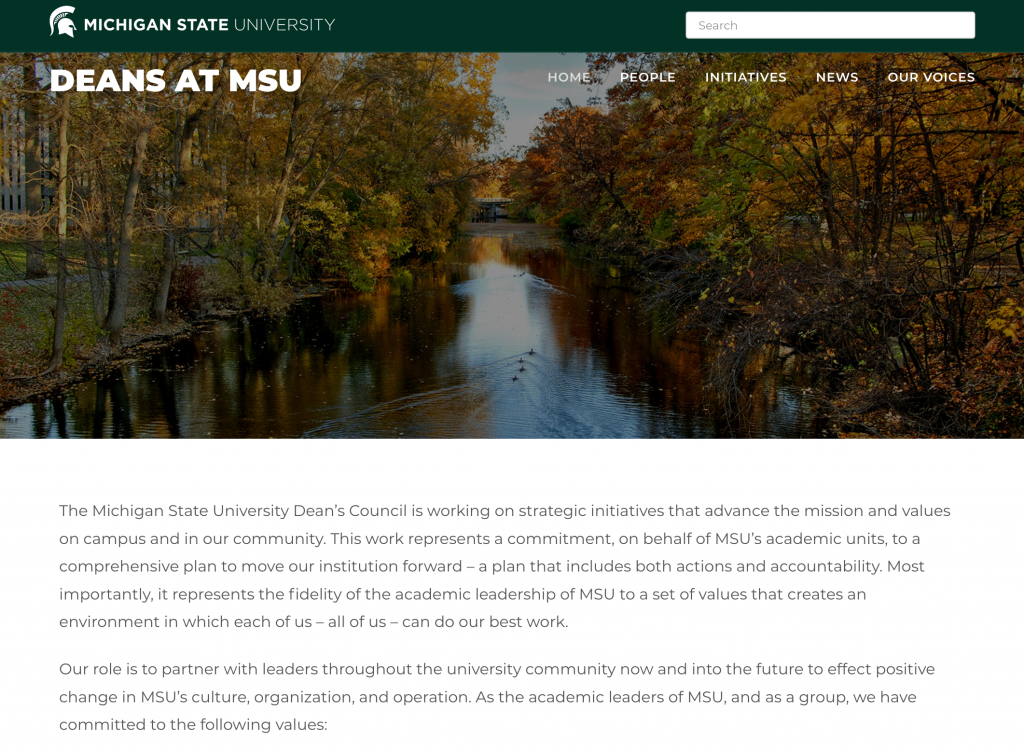 "screenshot of a webpage titled ""Deans at MSU"""