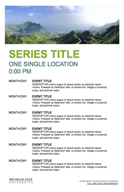 Graphic showing a mockup of the second event series poster template in official MSU branding