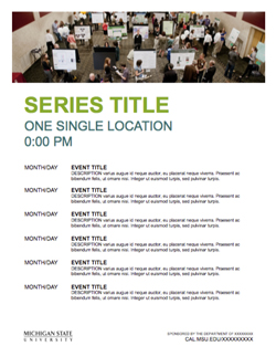Graphic showing a mockup of the second event series flyer template in official MSU branding