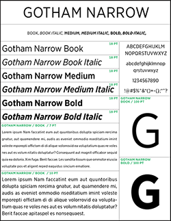 sample of gotham narrow typeface
