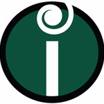 logo: white letter i on green background