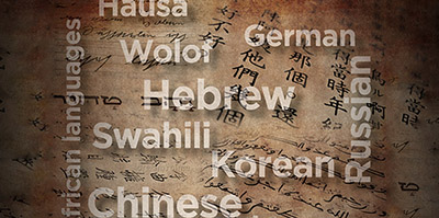 Collage of words, different languages