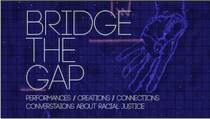 """Navy blue graphic titled """"Bridge the Gap"""" with a hand on the side extended down."""