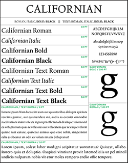sample of the californian typeface