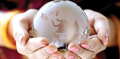 a clear glass globe