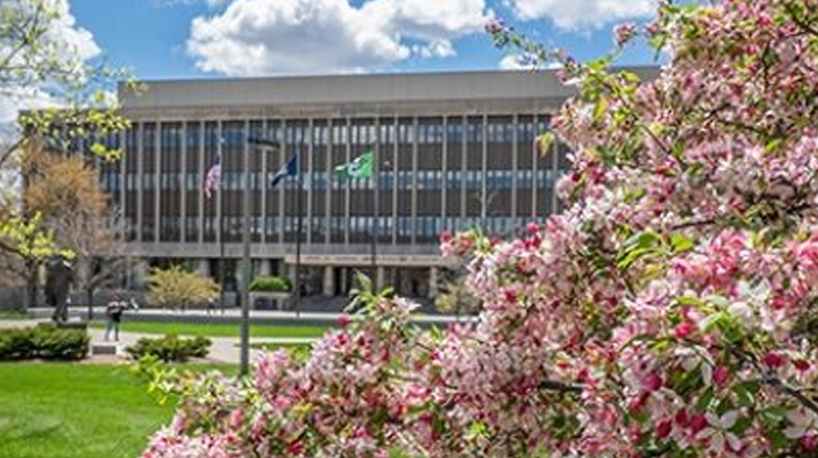 The Hannah Administration building in the background, pink flowers in the foreground