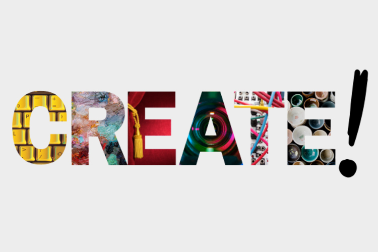 Graphic of the word Create, with different artistic images filling the letters