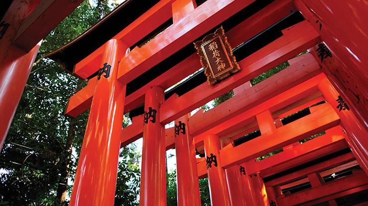 A red Shinto Shrine
