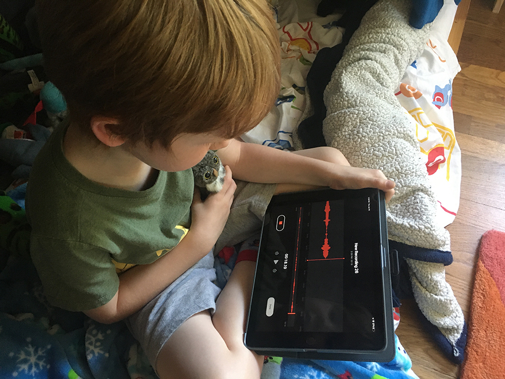 a kid recording himself talking in his room on an iPad