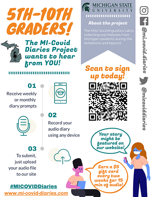 a poster for the MI-Covid diaries project addressing 5th-10th graders
