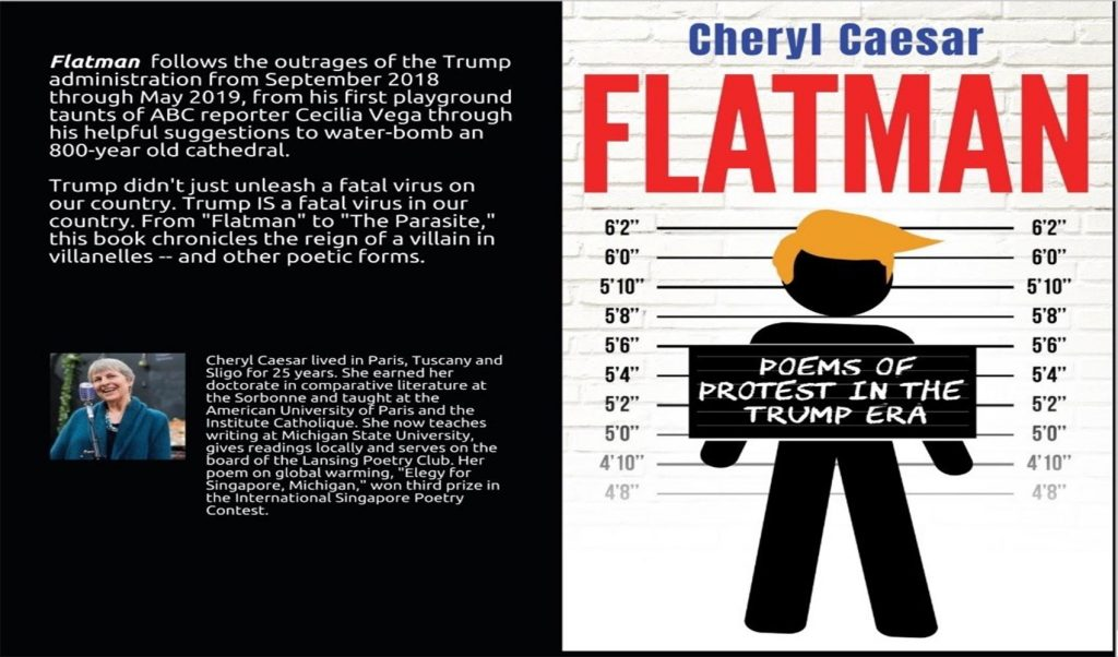 Graphic of the the Flatman book cover. The cover is white with a black outline of a man with yellow hair. There are horizontal lines over the outline of the man.