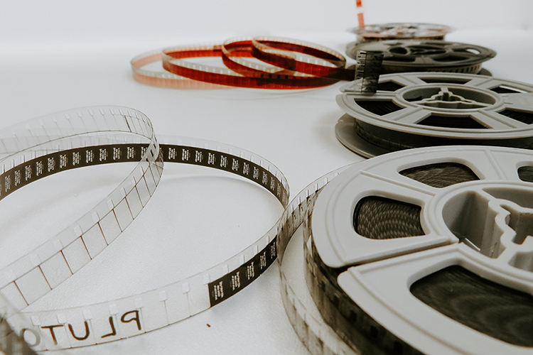 Film reels sprawled out