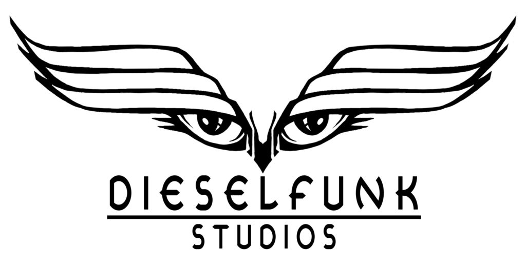 "Photo of a set of eyes above a logo that reads ""Dieselfunk Studios"""