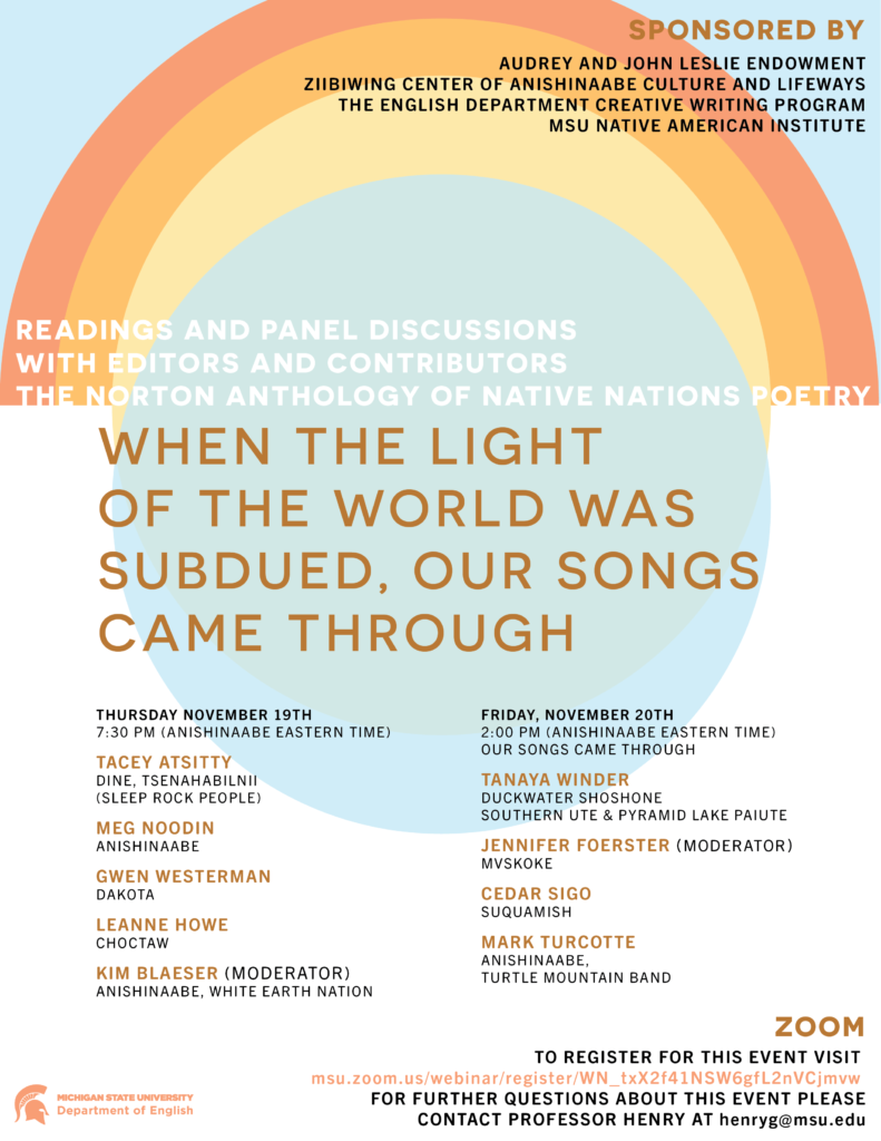 The Flyer for the Norton Anthology of Native Nations Poetry Event