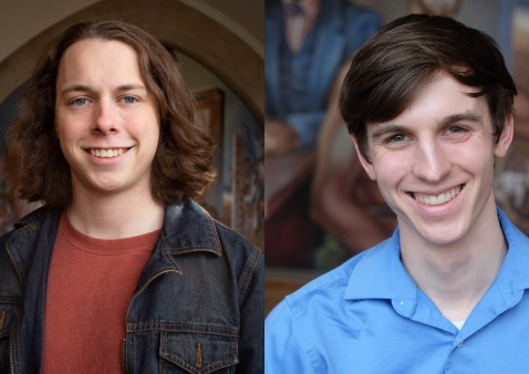 two photos put together of two guys, one with longer brown hair wearing a jean jacket and red shirt and the other with short brown hair wearing a blue shirt