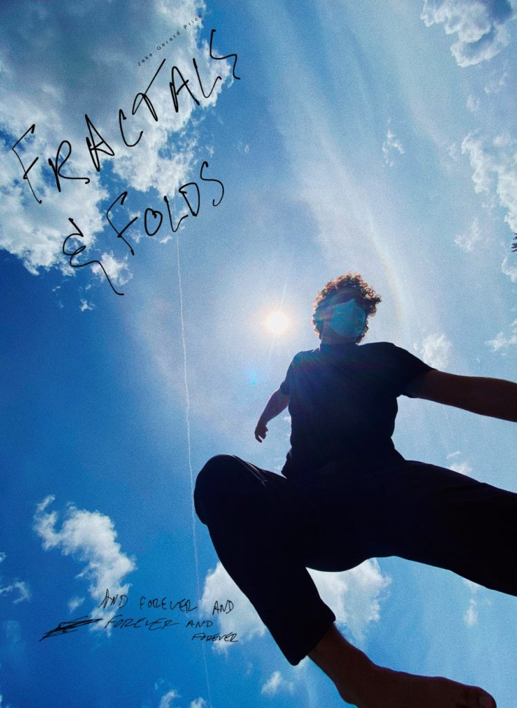 photo of a man wearing a mask doing jumping in the air with a bright blue sky with clouds in the background