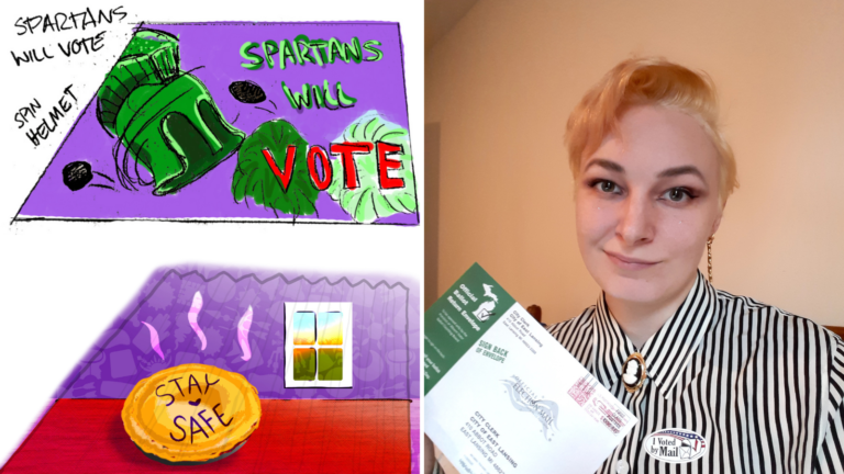 a woman with short blond hair holds a mail in voting ballot next to images of pie and a spartan helmet