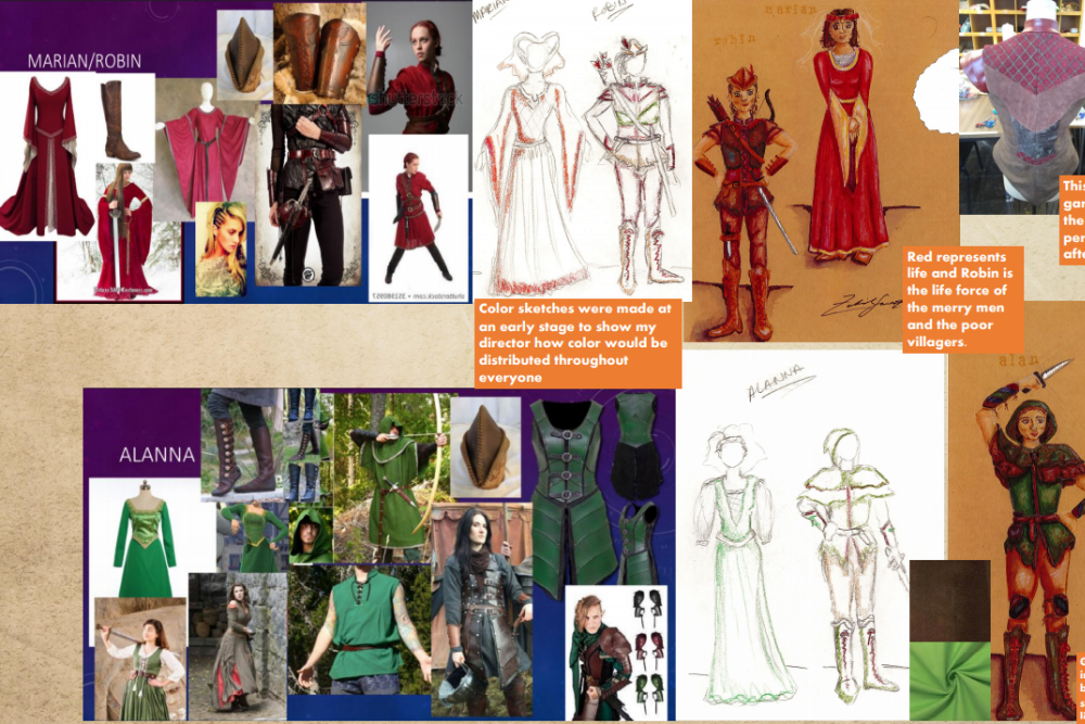 "Several sketches of costumes to be included in a production of ""Robin Hood."""
