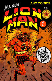 comic book cover that is called the Lion Man with a superhero wearing a red outfit