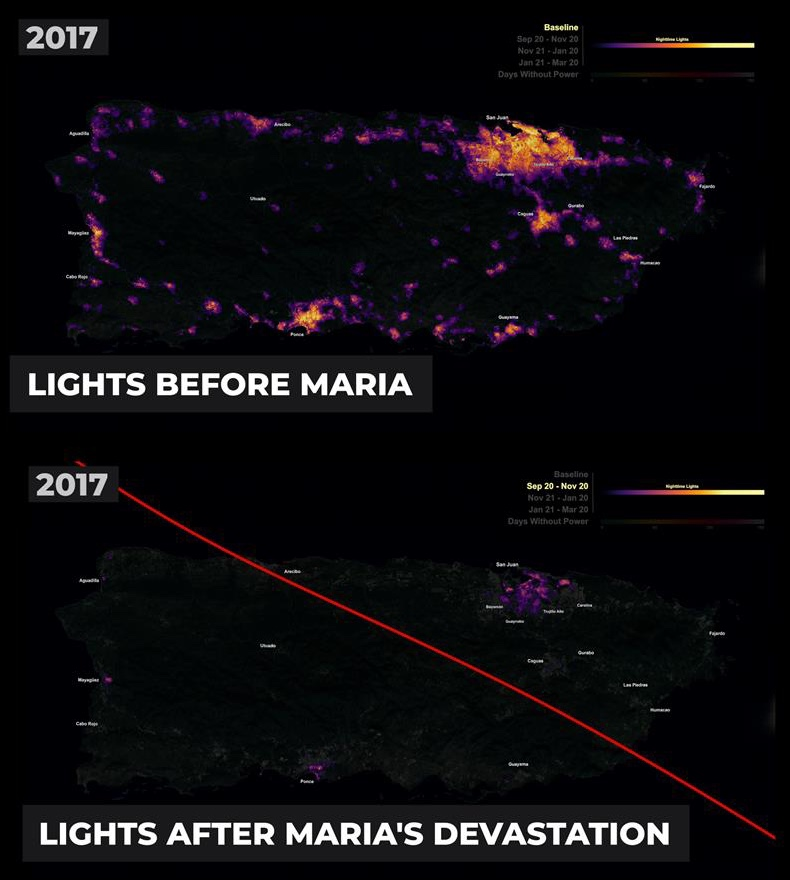 the before and after images from a satellite after Hurricane Maria hit