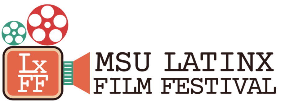 a graphic of a video camera with MSU Latinx Film Festival coming out of it