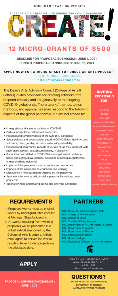 large infographic of all the information for the CREATE! Micro-Grant Program