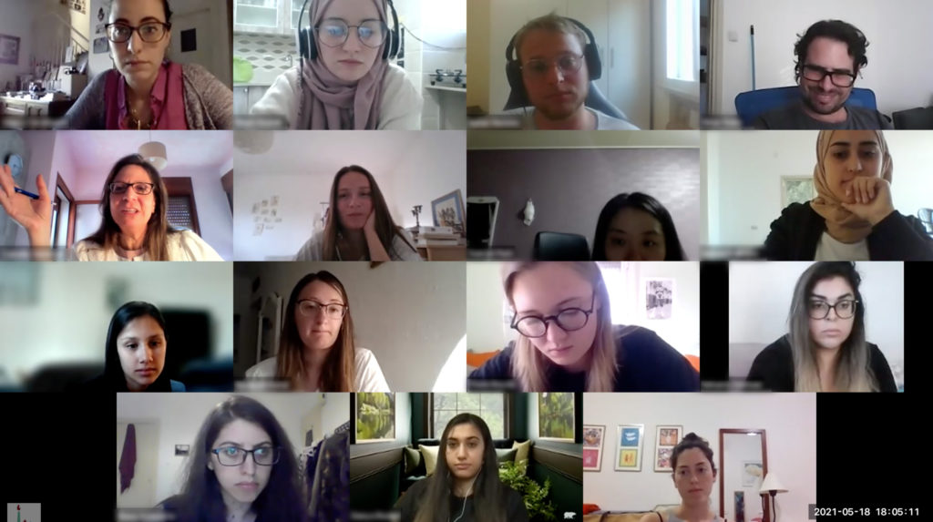 Screenshot of a Zoom classroom with 15 different people